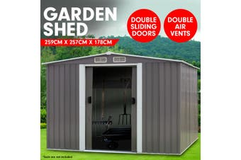 Garden Shed Spire Roof 8ft x 8ft Outdoor Storage Shelter - Grey