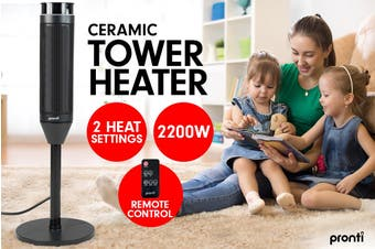 Pronti Electric Tower Heater 2000W Ceramic Portable Remote - Black
