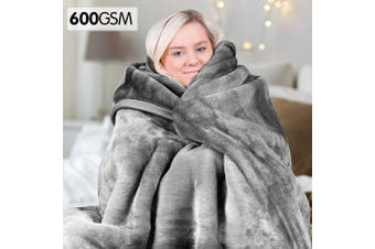 Laura Hill 600GSM Double-Sided Queen Size Faux Mink Blanket - Silver