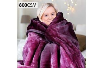 Laura Hill 800GSM Heavy Double-Sided Faux Mink Blanket - Purple