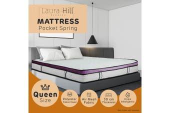 Laura Hill Euro Top Spring Pocket Mattress Queen - 30cm