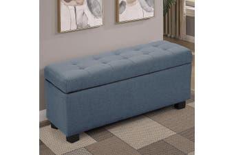 Large Ottoman Linen Fabric Storage Box Footstool Chest - Dark Grey