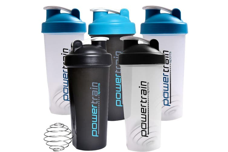5x Powertrain Shaker Bottle 700ml Protein Water Supplement Drink