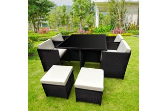 9pc Outdoor Furniture PE Rattan Cube Dining Garden Set