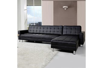 Sarantino Corner Faux Leather Sofa Bed Couch with Chaise - Black