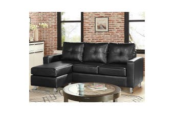 Sarantino Corner Sofa Lounge Couch with Chaise - Black