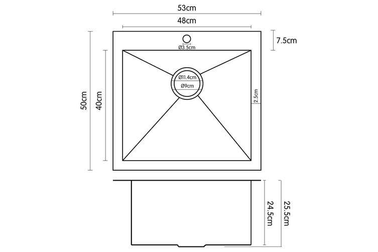 304 Stainless Steel Undermount Topmount Kitchen Laundry Sink - 530 x 500mm