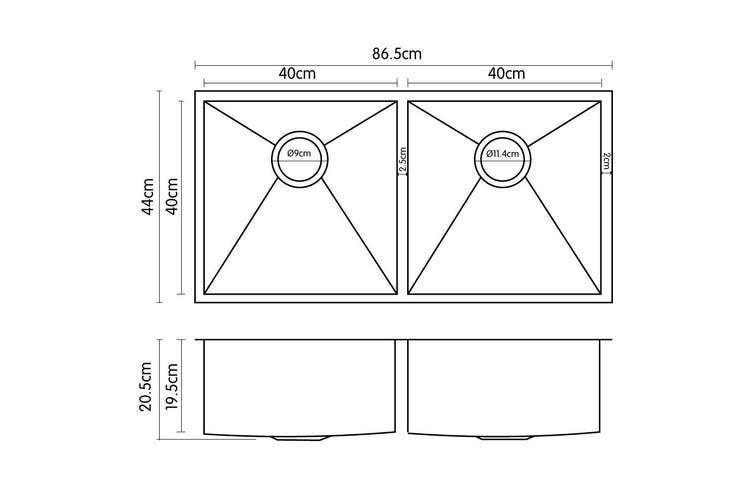 304 Stainless Steel Undermount Topmount Kitchen Laundry Sink - 865 x 440mm