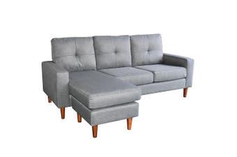 Sarantino Linen Corner Sofa Couch Lounge Adjustable Chaise - Grey