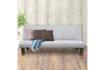 Sarantino 2 Seater Modular Linen Fabric Sofa Bed Couch Light Grey