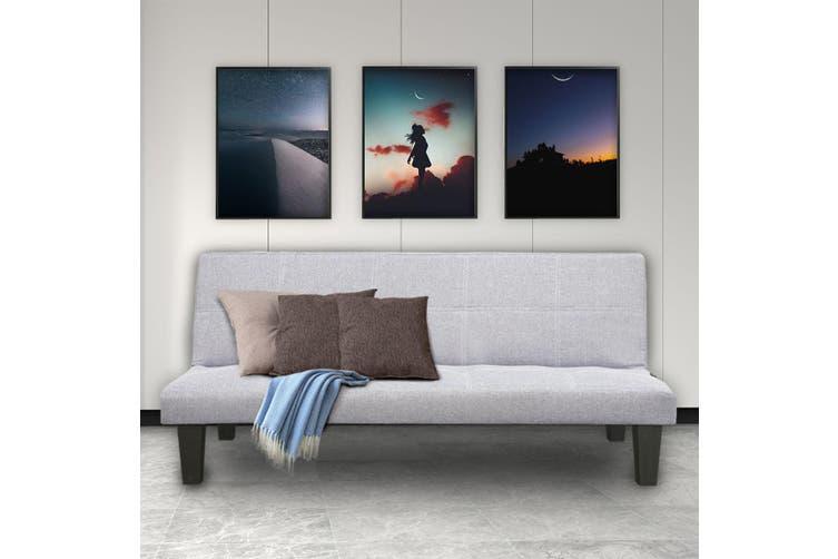 Sarantino 2 Seater Modular Linen Fabric Sofa Bed Couch Light Grey