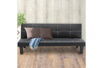 Sarantino 2 Seater Modular Faux Leather Fabric Sofa Bed Couch - Black