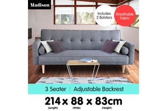 Sarantino 3 Seater Linen Sofa Bed Couch with Pillows - Dark Grey