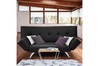 Sarantino 3 Seater Faux Leather Sofa Bed Lounge - Black
