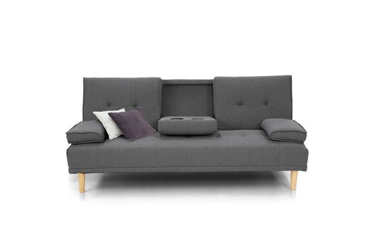 Sarantino Linen Fabric Sofa Bed Lounge Couch Futon - Dark Grey