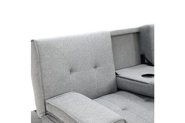 Sarantino Linen Fabric Sofa Bed Lounge - Light Grey