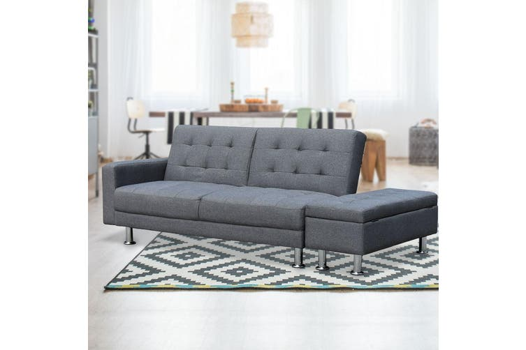 Sarantino 3 Seater Linen Sofa Bed Couch with Storage Ottoman - Grey