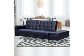 Sarantino 3 Seater Faux Leather Sofa Bed Couch with Ottoman - Black