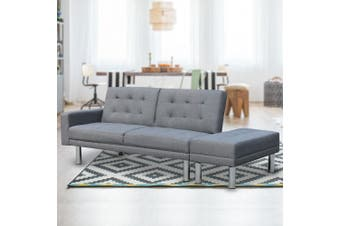 Sarantino 3 Seater Linen Sofa Bed Convertible Couch with Ottoman Grey