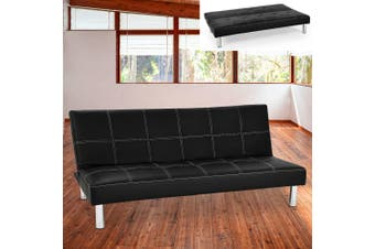 Sarantino 3 Seater Faux Leather Sofa Bed Couch - Black