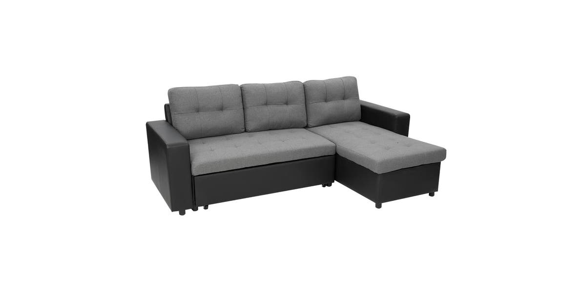 Sarantino 3 Seater Corner Sofa Bed Storage Lounge Chaise Couch Grey Matt Blatt