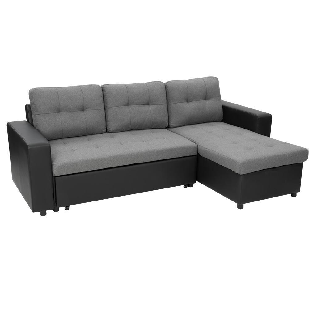 Sarantino 3 Seater Corner Sofa Bed Storage Lounge Chaise Couch Grey Matt Blatt