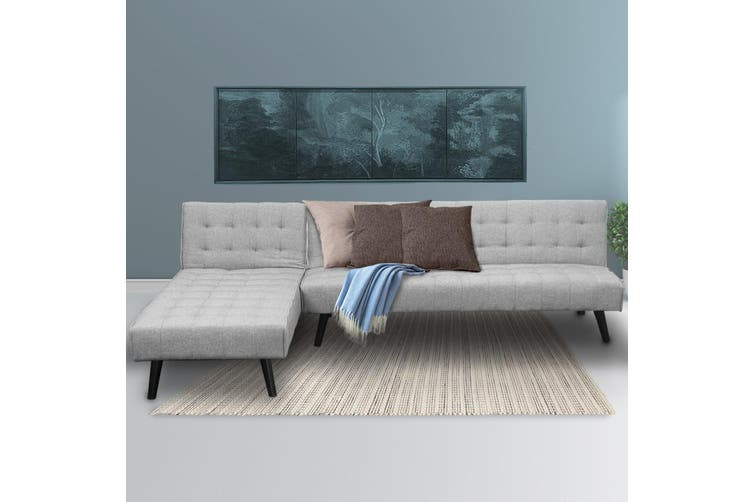 Sarantino 3-Seater Corner Sofa Bed Lounge Chaise Couch - Light Grey