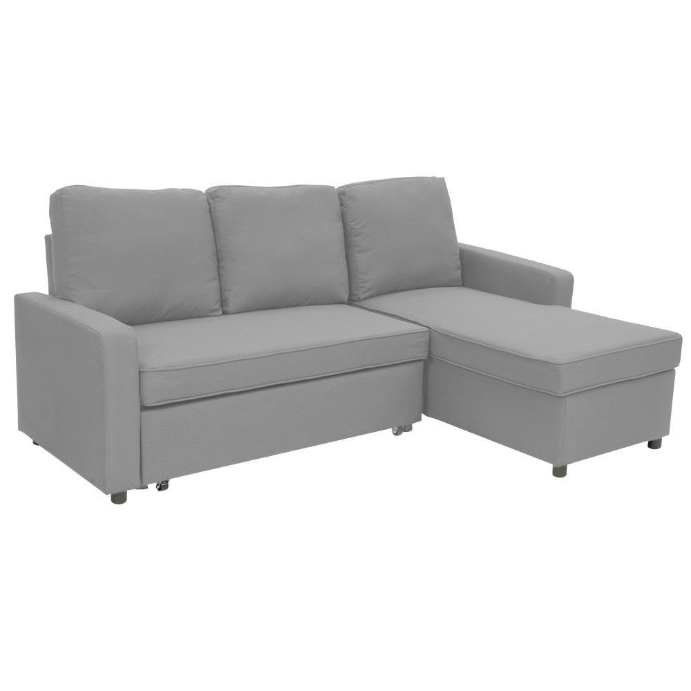 Picture of: Sarantino 3 Seater Corner Sofa Bed Lounge Storage Chaise Couch L Grey Matt Blatt