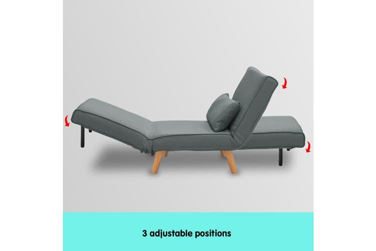 Sarantino Adjustable Corner Sofa Lounge Linen Bed Seat - Dark Grey