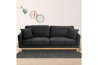 Sarantino 3 Seater Faux Velvet Sofa Bed Couch Furniture - Black
