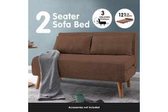 Sarantino Adjustable 2 Seater Sofa Lounge Linen Bed Seat - Brown