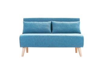 Sarantino Adjustable Corner Sofa 2-Seater Lounge Linen Bed Seat - Blue