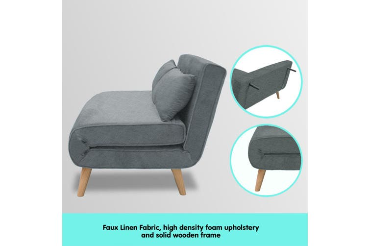 Sarantino Adjustable Corner Sofa 2-Seater Chair Linen Bed - Dark Grey