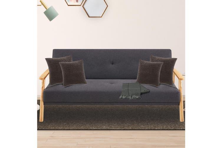 Sarantino 3 Seater Linen Fabric Sofa Bed Lounge Couch Futon Dark Grey
