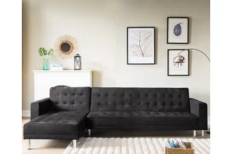 Sarantino Faux Velvet Corner Sofa Bed Couch with Chaise - Black