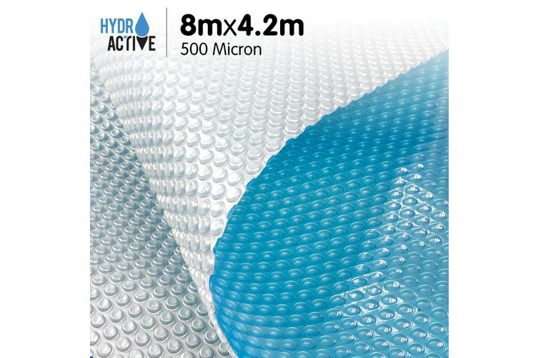 500 Micron Solar Swimming Pool Cover Silver/Blue - 8m x 4.2m