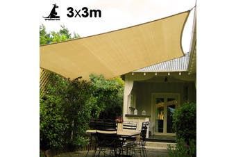 Wallaroo Square Shade Sail: 3m x 3m - Sand