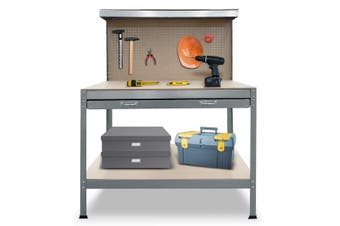 2-Layered Work Bench Garage Storage Table Tool Shop Shelf Silver
