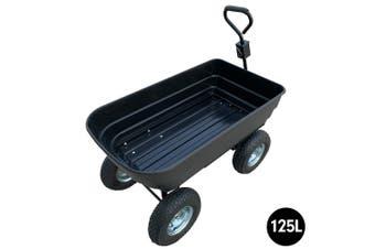 Garden Dump Cart Dumper Wagon Carrier Wheel Barrow  125L