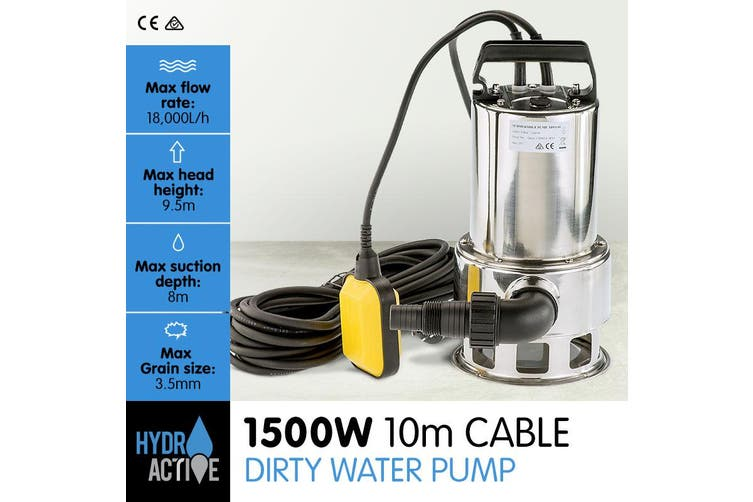 HydroActive Submersible Dirty Water Pump - 1500W