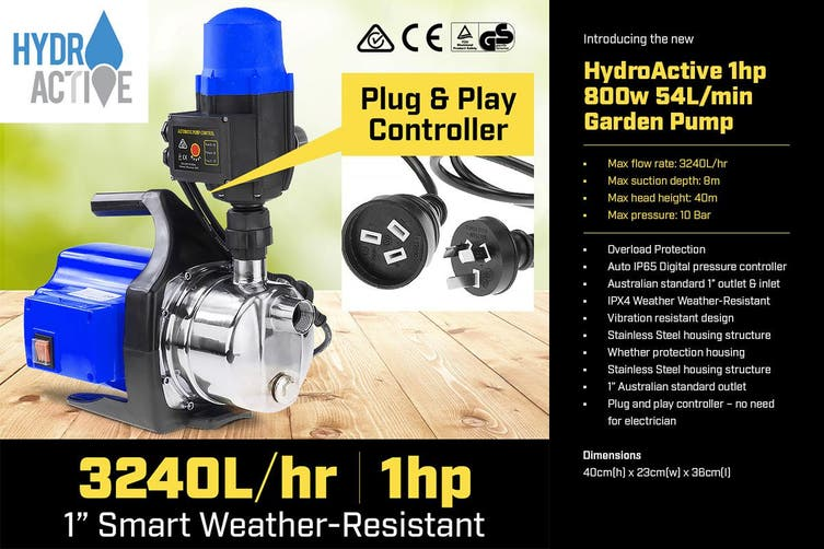Hydro Active 800w Weatherised Stainless Auto Water Pump Blue
