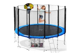 Blizzard 12ft Trampoline Blue with Basketball Set