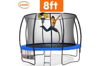 Trampoline 8 ft Kahuna with Basketball set - Blue