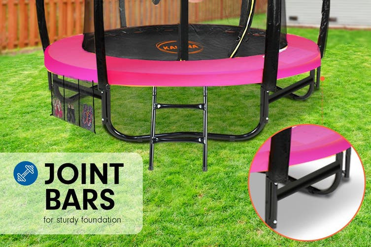 Trampoline 8 ft Kahuna with Basketball set - Pink