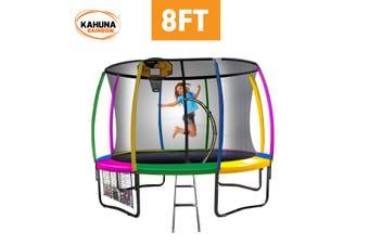 Kahuna Trampoline 8 ft with Basketball set - Rainbow