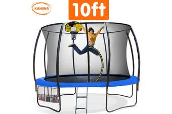 Trampoline 10ft Kahuna with  Basket ball set - Blue