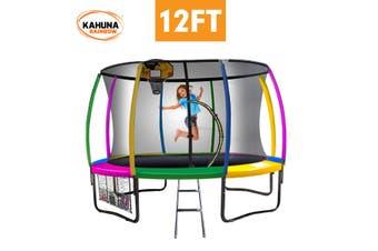 Kahuna Trampoline 12 ft with Basketball set - Rainbow
