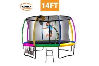 Kahuna Trampoline 14 ft with Basketball Set - Rainbow