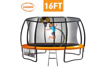 Kahuna Trampoline 16 ft with Basketball set - Orange