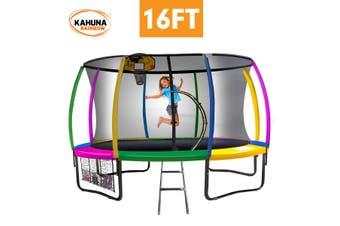Kahuna Trampoline 16ft with Basketball Set - Rainbow